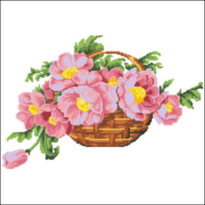 1920s Basket of flowers pink