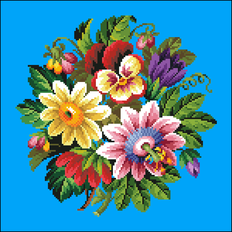 Pansies Daisy and Passion Flower Bouquet -