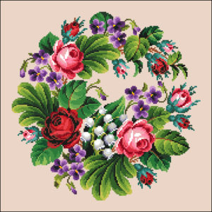 Roses Violets and Lilly of the Valley Wreath