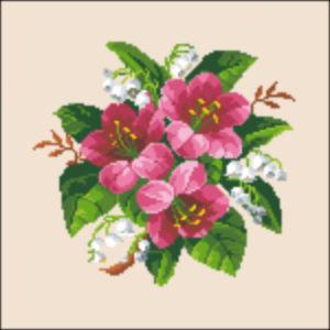 beadwork organ stool cover pink lillies