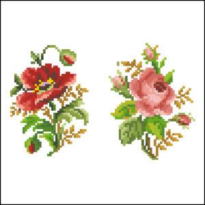 single poppy rose oval pair